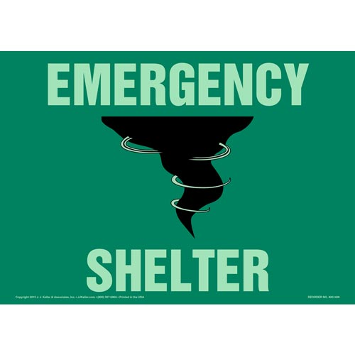Emergency Shelter Sign with Icon - Glow In The Dark (012576)