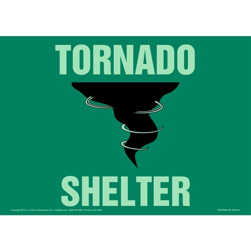 Tornado Shelter Sign with Icon - Glow In The Dark (012578)