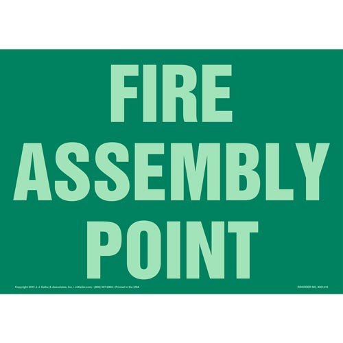 Fire Assembly Point Sign - Green, Glow In The Dark (012579)