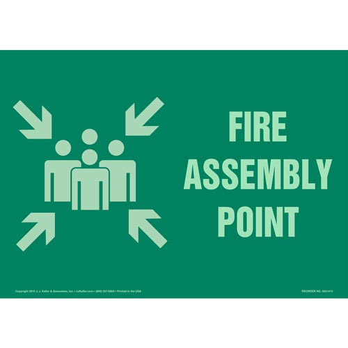 Fire Assembly Point Sign with Icon - Green, Glow In The Dark (012580)