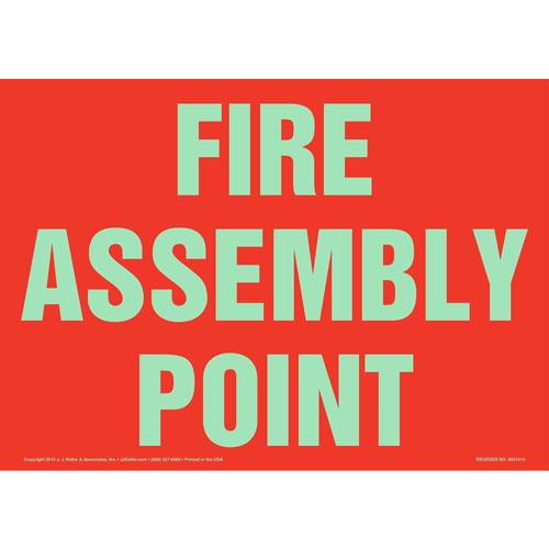 Fire Assembly Point Sign - Red, Glow In The Dark (012581)
