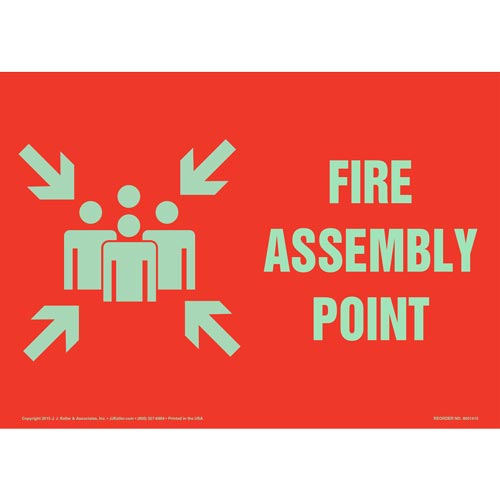Fire Assembly Point Sign with Icon - Red, Glow In The Dark (012582)