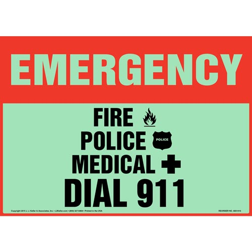 Emergency: Fire, Police, Medical Dial 911 Sign - Glow In The Dark (012583)