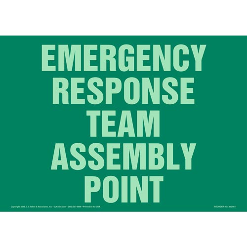 Emergency Response Team Assembly Point Sign - Glow In The Dark (012584)