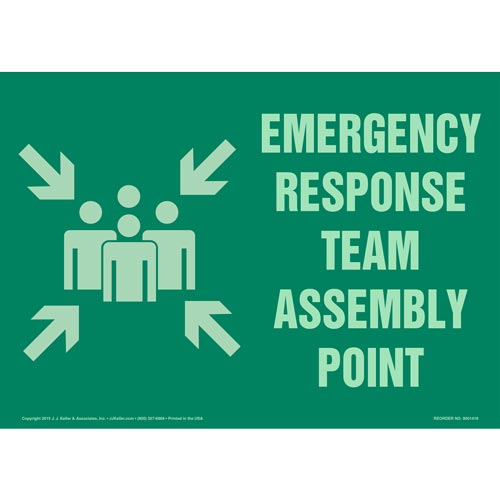 Emergency Response Team Assembly Point Sign with Icon - Glow In The Dark (012585)