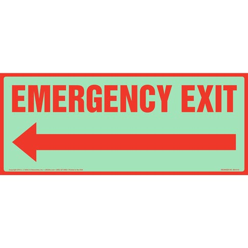 Emergency Exit Sign with Left Arrow - Glow In The Dark (012586)