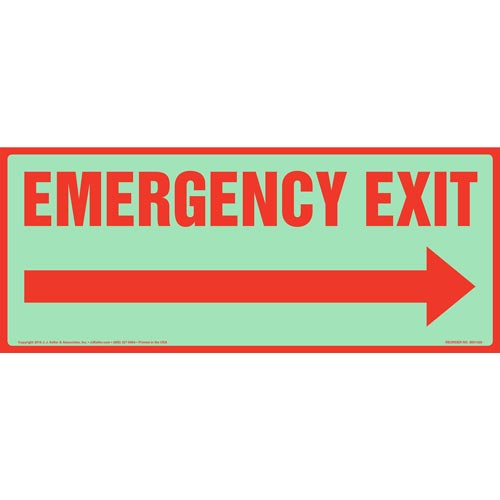Emergency Exit Sign with Right Arrow - Glow In The Dark (012587)