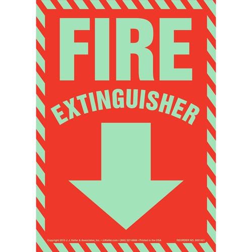 Fire Extinguisher Sign- Glow In The Dark (012588)