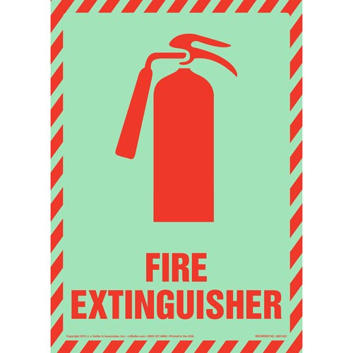 Fire Extinguisher Sign with Icon - Portrait, Glow In The Dark (012589)