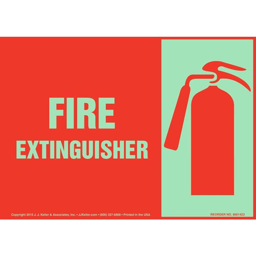 Fire Extinguisher Sign with Icon - Landscape, Glow In The Dark (012590)