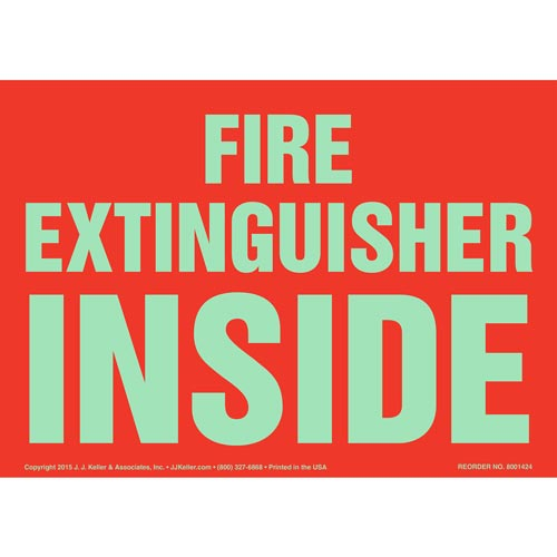 Fire Extinguisher Inside Sign - Glow In The Dark Text (012591)