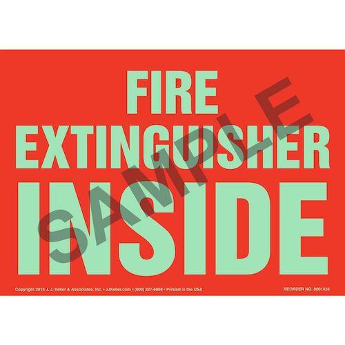 Fire Extinguisher Inside Sign- Glow In The Dark (012591)