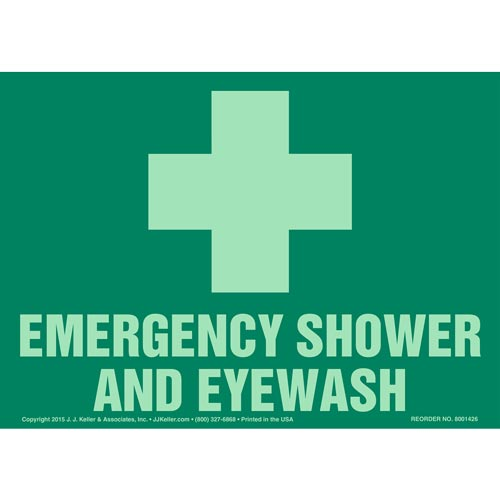 Emergency Shower And Eyewash Sign with Icon - Glow In The Dark (012593)