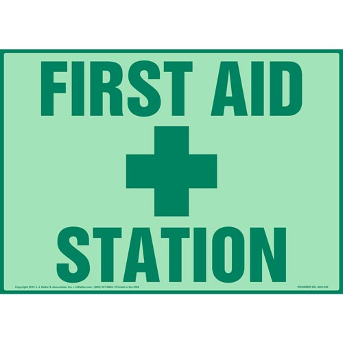 First Aid Station Sign - Glow In The Dark (012596)