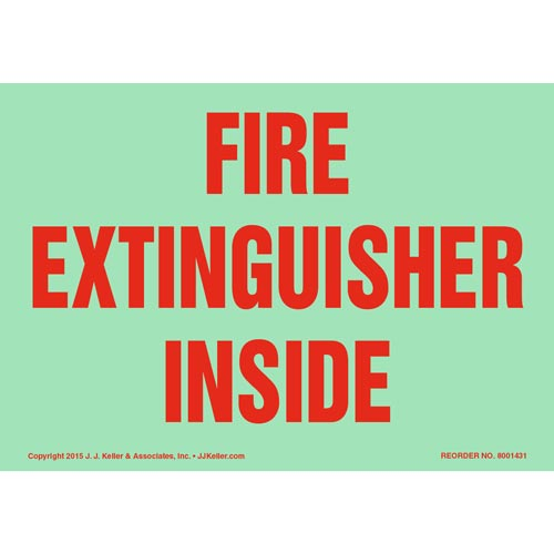 Fire Extinguisher Inside Sign - Glow In The Dark Background (012597)