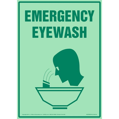 Emergency Eyewash Sign with Icon - Glow In The Dark (012599)