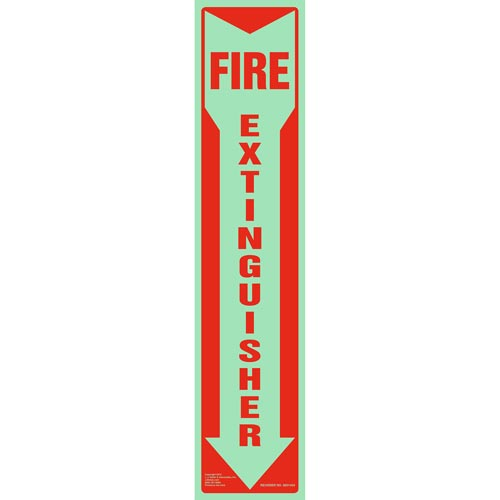 Fire Extinguisher Sign - Down Arrow, Vertical, Glow In The Dark (012600)