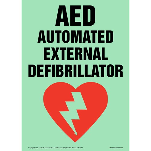 AED, Automated External Defibrillator Sign - Glow In The Dark (012601)