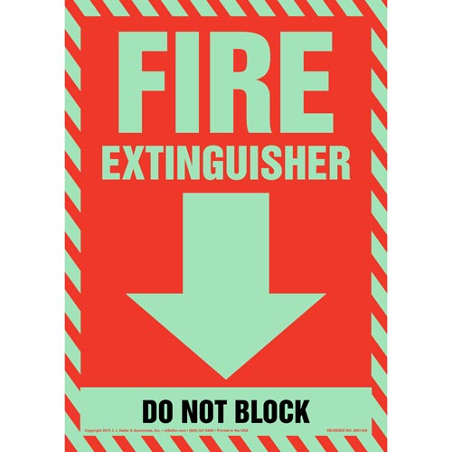 Fire Extinguisher, Do Not Block Sign - Glow In The Dark (012602)