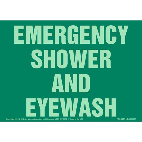 Emergency Shower And Eye Wash Sign- Glow In The Dark (012603)