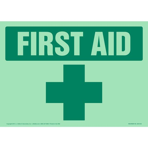 First Aid Sign - Glow In The Dark Background (012604)