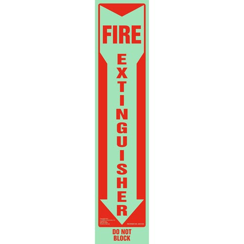 Fire Extinguisher, Do Not Block Sign - Vertical, Glow In The Dark (012605)