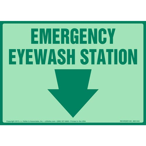 Emergency Eyewash Station Sign - Glow In The Dark (012608)