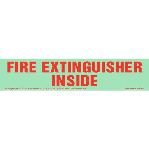 Fire Extinguisher Inside Label - Long Format, Glow In The Dark (012610)
