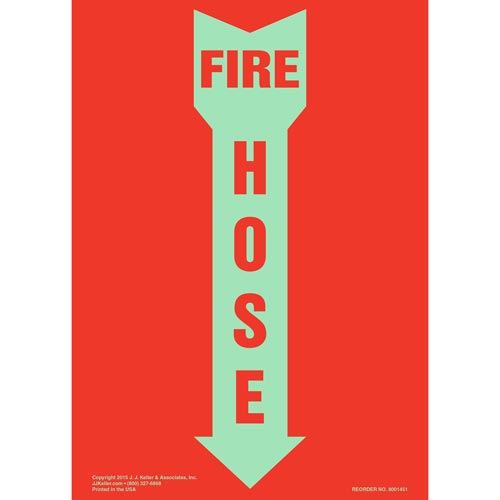Fire Hose Sign - Down Arrow, Glow In The Dark (012615)