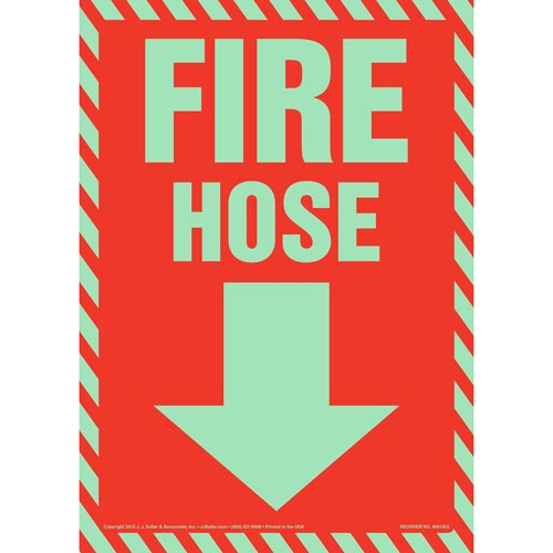 Fire Hose Sign - Striped Border, Glow In The Dark (012616)