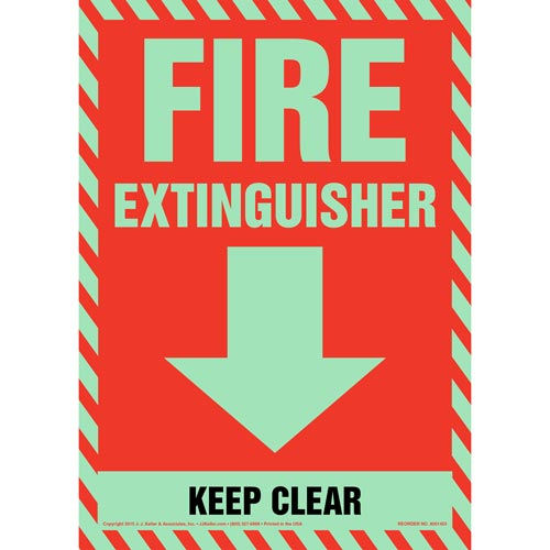 Fire Extinguisher, Keep Clear Sign - Glow In The Dark (012619)