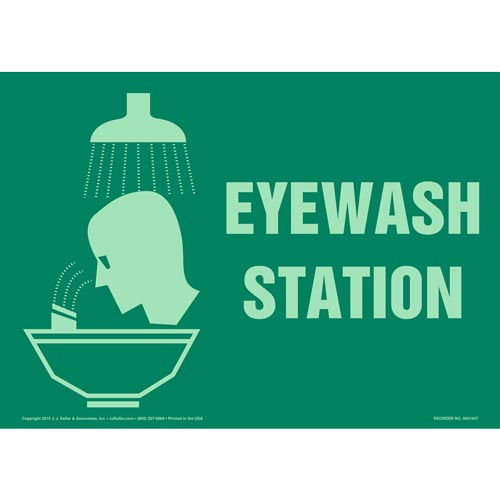 Eyewash Station Sign with Icon - Glow In The Dark (012621)