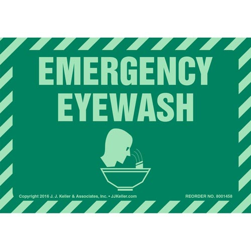 Emergency Eyewash Label with Icon - Glow In The Dark (012622)