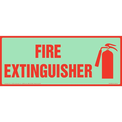 Fire Extinguisher Sign with Icon - Long Format, Glow In The Dark (012623)