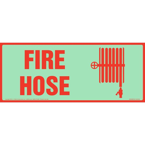 Fire Hose Sign with Icon - Long Format, Glow In The Dark (012624)