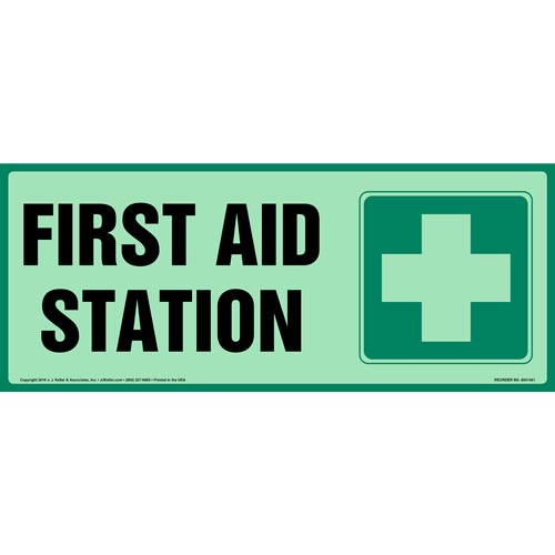 First Aid Station Sign - Long Format, Glow In The Dark (012625)