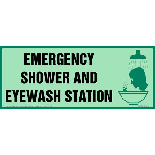 Emergency Shower & Eyewash Station Sign with Icon - Long Format, Glow In The Dark (012626)