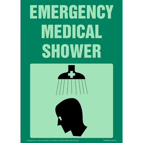 Emergency Medical Shower Sign with Icon - Glow In The Dark (012627)