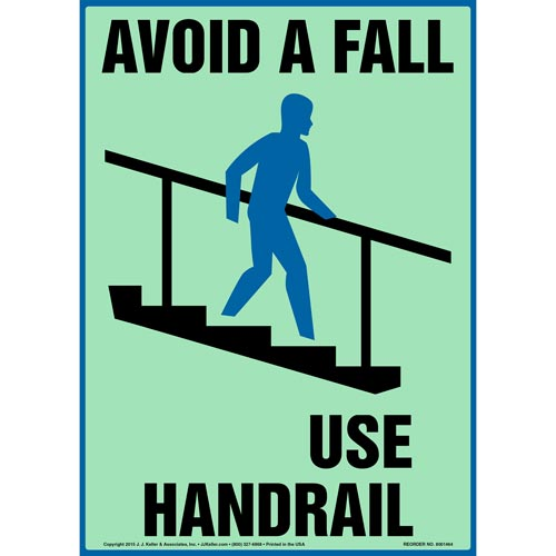 Avoid A Fall, Use Handrail Sign - Glow In The Dark (012628)