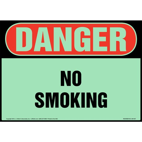 Danger: No Smoking Sign - OSHA, Glow In The Dark (012631)