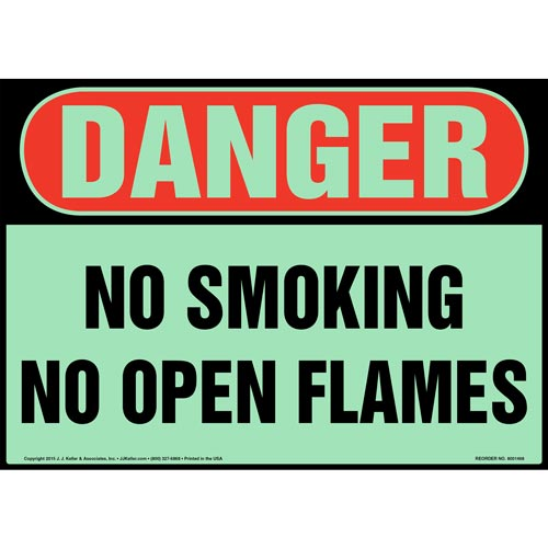Danger: No Smoking/Open Flames Sign - OSHA, Glow In The Dark (012632)