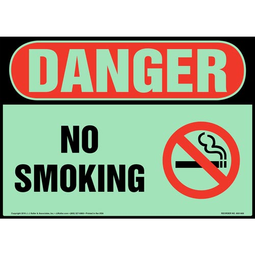 Danger: No Smoking Sign with Icon - OSHA, Glow In The Dark (012633)
