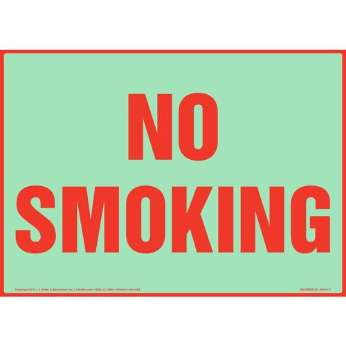White No Smoking Sign - Glow In The Dark (012635)
