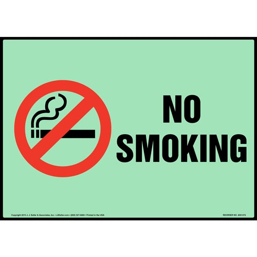 No Smoking Sign with Icon - Glow In The Dark (012636)