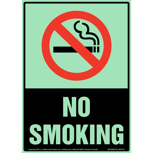 No Smoking Sign with Icon - Portrait, Glow In The Dark (012637)