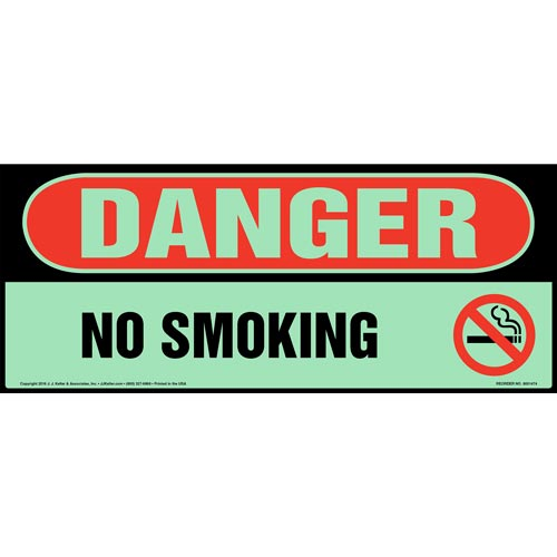 Danger No Smoking Sign - Glow In The Dark (012638)