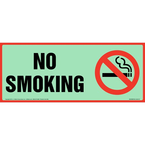 No Smoking Sign with Icon - Long Format, Glow In The Dark (012639)