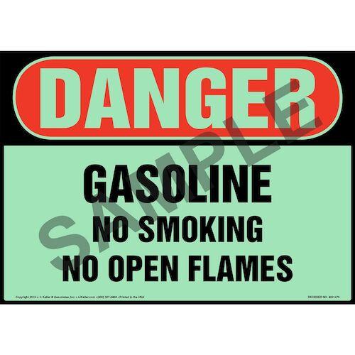 Danger: Gasoline, No Smoking/Open Flames Sign - OSHA, Glow In The Dark (012643)