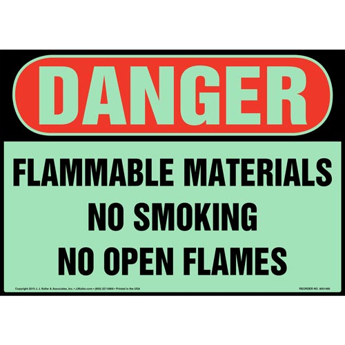 Danger: Flammable Materials, No Smoking/Open Flames Sign - OSHA, Glow In The Dark (012644)
