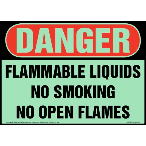 Danger: Flammable Liquids, No Smoking/Open Flames Sign - OSHA, Glow In The Dark (012645)
